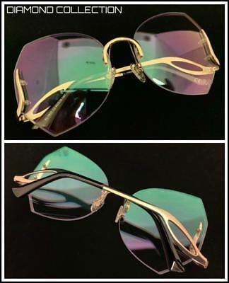 Übergröße Designer Luxus Retro-Stil Brillen Fassung Diamantschliff Klarglas