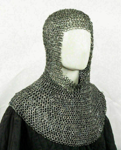 MS Flat Riveted Oil Finish 9 mm Chain Mail Medieval /Hood