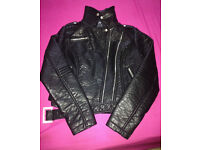 LADIES NEW ATMOSPHERE FAUX LEATHER JACKET size 8 - FREE DELIVERY ALL LONDON