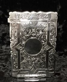 1892 Solid Silver Gothic Style Card Case Hallmarked Birmingham