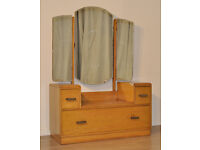 Attractive Vintage Art Deco Birch Triple Mirror Dressing Table Chest Drawers