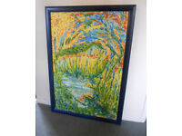 Large Painted Canvas in Wooden Frame