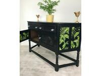 Stunning Solid Hand Painted Unique Black Old Charm sideboard with contrasting palm print