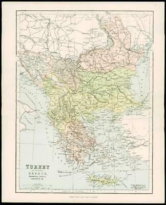 1900 Antique Colour Map of TURKEY IN EUROPE GREECE BULGARIA SERBIA (08)