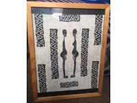 Picture frame with African fabric print