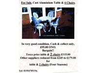 Cast A;uminium Table & 4 chairs