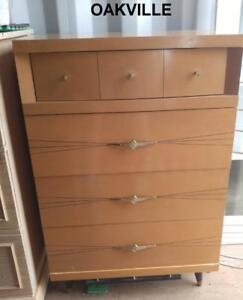 "TALL DRESSER Vintage Retro Brown High Boy Awesome Brass Handles Solid Wood 28""wx17""dpx42"" high Bedroom Storage Oakville"
