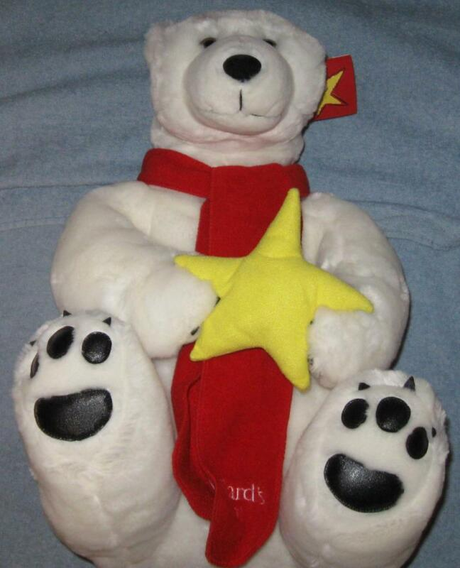 2001 VINTAGE NIB WHITE TEDDY BEAR MADE FOR DILLARDS WITH RED SCARF YELLOW STAR