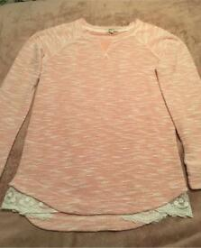 Papaya pink jumper with lace. Size 10