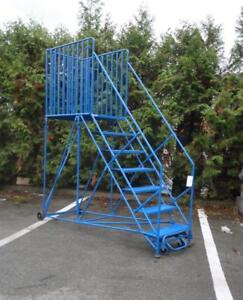 CANWAY Mobile 7-step Ladder Stand W/ Handrails