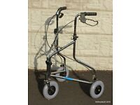 Lightweight folding 3 wheel walking aid zimmer frame shopping trolley - assisted mobility aid