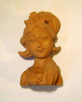 Vintage Sandalwood Carving: Beautiful Woman Head & Shoulders Indian / Indonesia