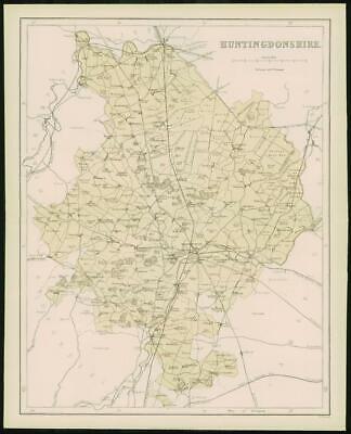 1868 - Original Colour Antique MAP of HUNTINGDONSHIRE by W Hughes (FC55)