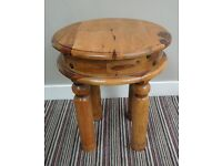 SOLID INDIAN ROSEWOOD SHEESHAM JALI SMALL ROUND TABLE - IDEAL FOR END TABLE OR LAMP TABLE