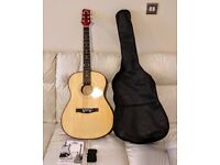 """**Excellent Opportunity** 39"""" (99 cm) Acoustic Guitar+Case+Strap+E &B strings+Songbook"""