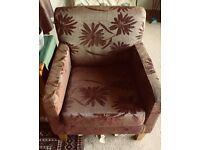 arm chairs 2 in excellent printed fabric dar brown One for £55 two for £100