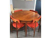 G plan dining table and chairs Mid century Danish style vintage Retro Kofod Larsen
