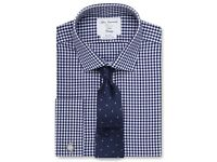 """TM Lewin John Francomb - 15½"""" - Check Navy Gingham Fitted Shirt - NEW W/O TAGS"""