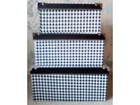 Set of 3 Rectangle Black & White Houndstooth Storage Boxes with Lids NEW