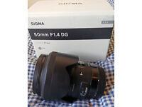 Sigma 50mm f/1.4 DG HSM Art Lens - Canon EOS Fit - Mint Condition