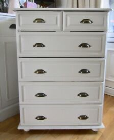 Shabby Chic Look White Solid Wood Chest of Drawers.