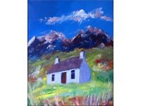 House in Scottish Mountains Oil Painting on Stretched Canvas Impressionists