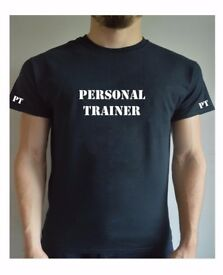 Printed Personal Trainer T Shirt Gym Workout Training PT Top Tee + Back Printed