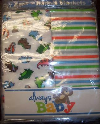 New Boy's 2 Pack Always Baby A Trademark of Gerber Flannel Receiving Blankets A Baby Flannel Blankets