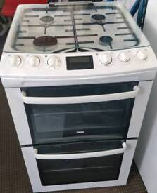 ZANUSSI GAS COOKER 55CM WIDE DOUBLE OVEN WITH GRILL FREE DELIVERY AND WARRANTY