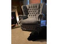 Chesterfield fabric chair Harris tweed