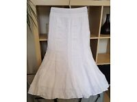 Stunning Per Una White Cotton Maxi Skirt size 8L – Cost £45, Never Worn