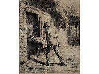JEAN-FRANÇOIS MILLET (1814-75) -LE PAYSAN RENTRANT DU FUMIER- MONOCHROME ETCHING