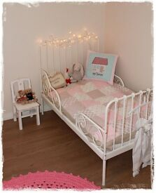 IKEA children kids bed extendable children toddler metal frame princess for up to 8/10 years