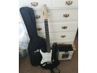 Left handed electric guitar, amp & accessories
