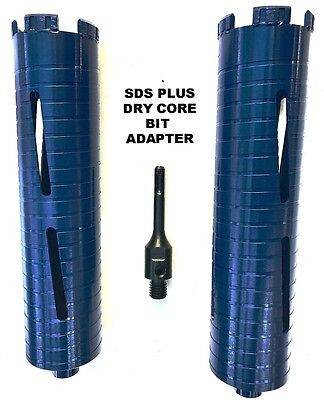 "COMBO: 1.5"" & 2"" Dry Diamond Core Drill Bit for Concrete with SDS Plus Adapter"