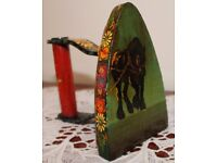 Hand Painted Flat Iron depicting Working Shire Horse