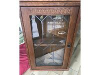 Oak Wall Corner Unit Display Cabinet