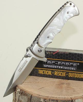 """7"""" TAC-FORCE Mother Of Pearl Finger Grooved Spring Assisted Opening Pocket Knife for sale  Shipping to Canada"""