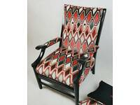 REUPHOLSTERED RETRO VINTAGE MULTI COLOUR VELVET FABRIC ARMCHAIR AND 2X CUSHIONS