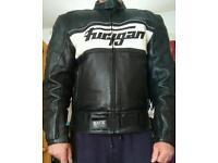 Genuine used leather motorcycle jacket.