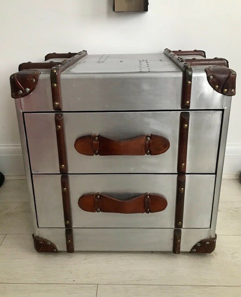 Silver Industrial style aluminium bedside chest