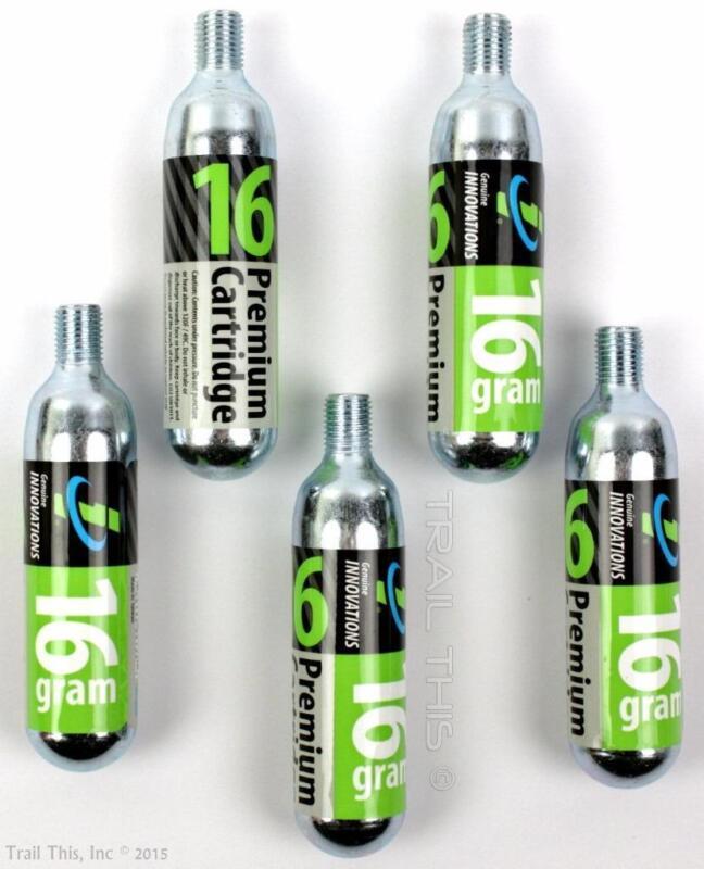 5-Pack Genuine Innovations 16g Threaded CO2 Refill Cartridges Bike Inflator Road