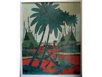 VINTAGE BALINESE BATIK PAINTING Stilt Houses, Fishing Boats and Palm Trees Scene