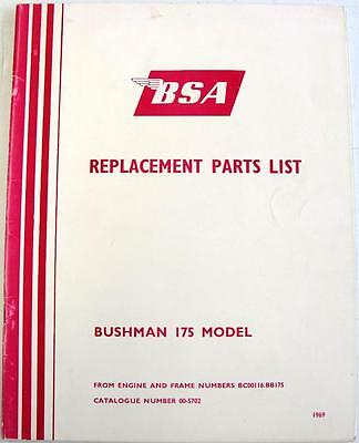 BSA Bushman 175 Model Original Motorcycle Spare Parts List 1969 #00-5702