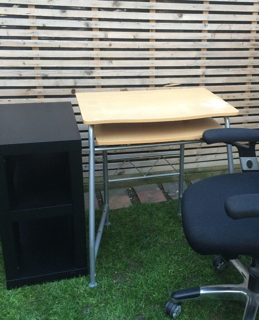 Computer desk and Ikea storage unit, good conditionin Wembley, LondonGumtree - Computer desk and Ikea storage unit, good condition. Desk with pull out shelf has some wear but strong, Black Ikea storage unit like new, NO CHAIR IN PIC (CHAIR HAS BEEN SOLD) Collection from Perivale