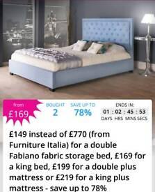 Double storage bed frame & mattress