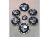 BMW Blue Carbon Boot Bonnet Steering Alloy Wheel Centre Caps 82mm 74mm 45mm 68mm Badges Full Set