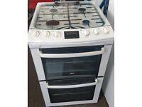 ZANUSSI GAS COOKER DOUBLE OVEN WITH GRILL 55CM WIDE FTEE DELIVERY AND WARRANTY