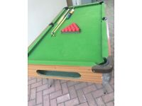 Snooker or pool table for sale with snooker balls and cues