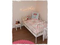 Stylish extending child/kids bed frame, Ikea Minnen white metal, pet/smoke free home, for nursery